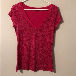 Hot pink sequined top